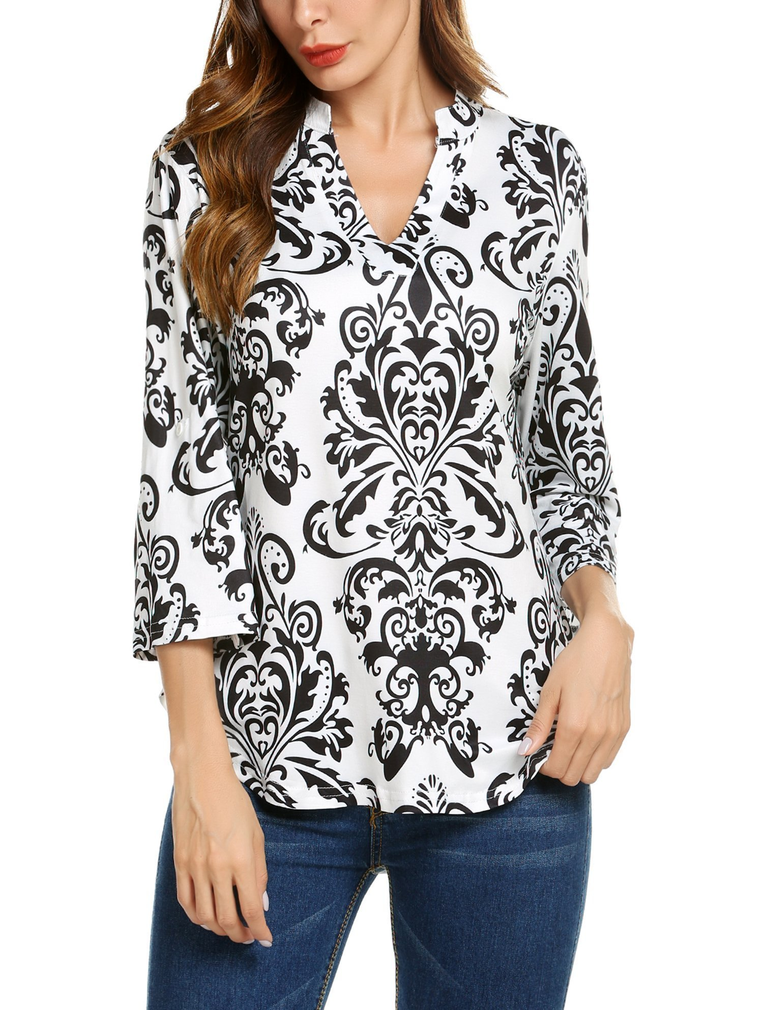 Hount Womens Casual V Neck Floral Top and Blouse Long Sleeve Tunic Shirt (X-Large, Black)