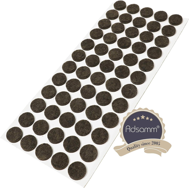 Adsamm/® auto-adhesivos Protectores de suelo para patas de mueble 18 x almohadillas de fieltro con grosor de 3,5 mm de la m/áxima calidad redondo marr/ón /Ø 36 mm