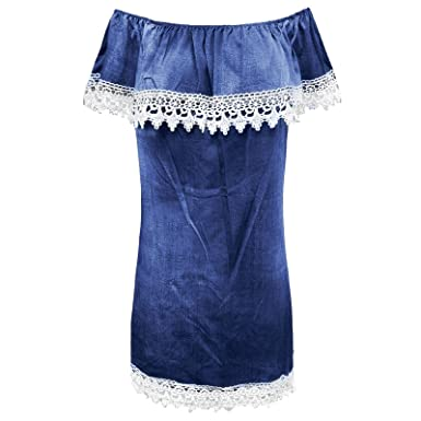 413df33c56e New Womens Ladies Bardot Look TOP Off The Shoulder Lace Trim Shirt Dress Shirt  UK 8 10 12 14  Amazon.co.uk  Clothing