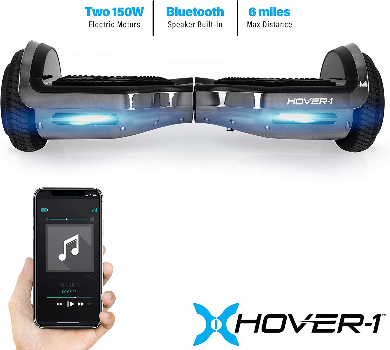 Hover-1 Chrome Electric Hoverboard Scooter Gun Metal - 1