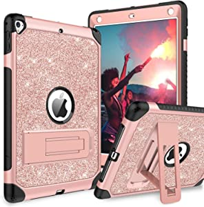 BENTOBEN Case for iPad 9.7 2017/2018/Pro 9.7/Air 2, Glitter 3 Layer Full Body Protective Kickstand Durable Leather Shockproof Girls Women Kids Tablet Cover for Apple iPad 5th/6th Gen/Air 2, Rose Gold