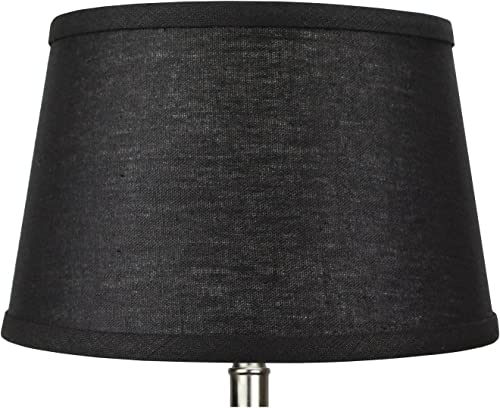 FenchelShades.com Lampshade 9 Top Diameter x 12 Bottom Diameter x 8 Slant Height with Washer Spider Attachment for Lamps with a Harp Designer Black
