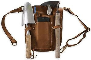 Gardening Tool Belt Apron - Garden Belt for Women & Men, Garden Tool Bag for Garden Tool Storage. Adjustable Waist Strap, Genuine Leather. Garden Tool Kit Accessory Holder, Waist Pouch Holder.