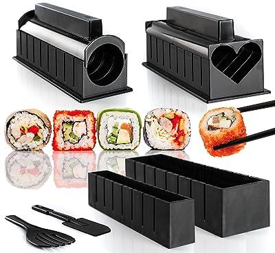 Juego de utensilios para hacer sushi, incluye 6moldes con diferentes formas e instrucciones paso a paso (idioma español no garantizado)