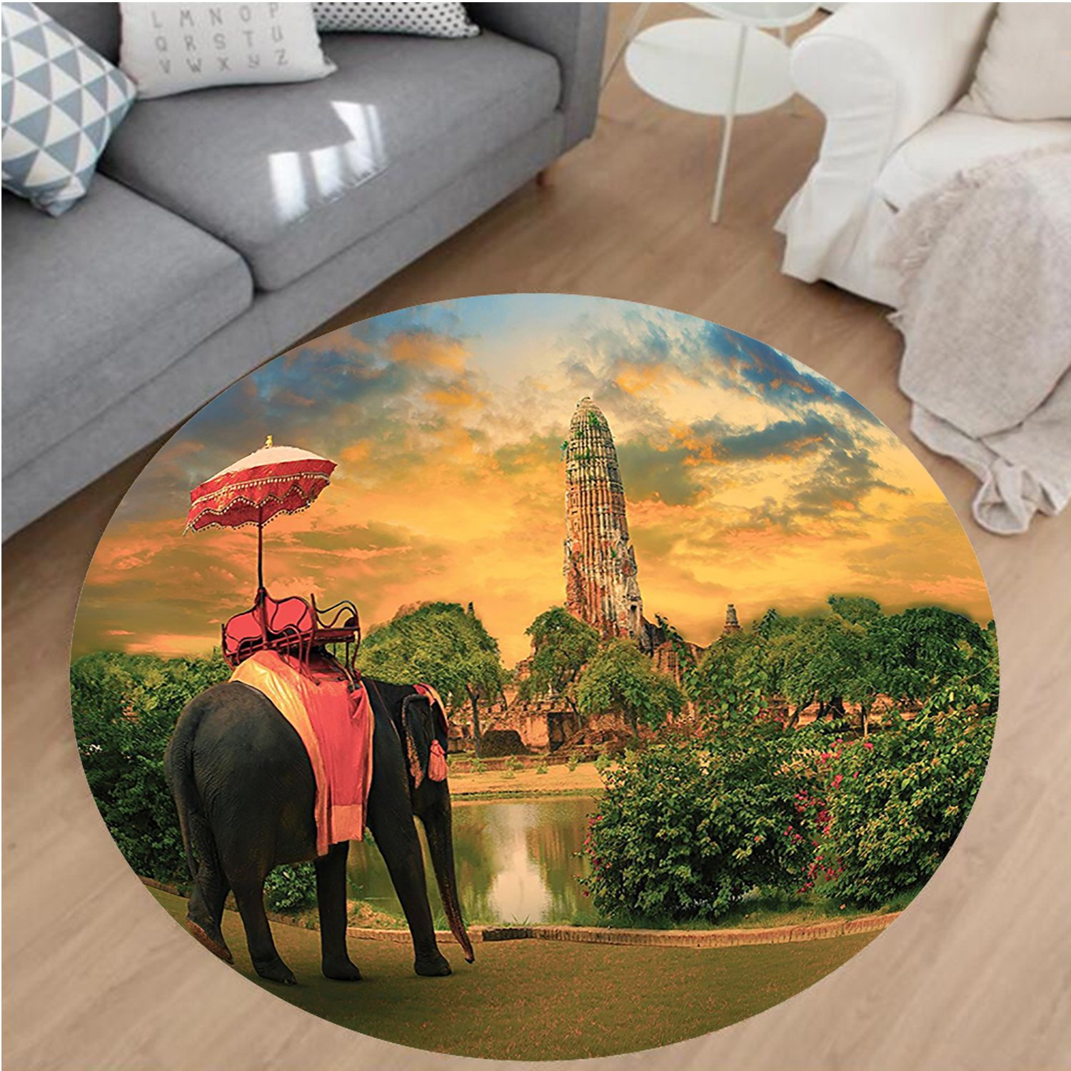 Nalahome Modern Flannel Microfiber Non-Slip Machine Washable Round Area Rug-hants Decor Elephant Dressing With Thai Kingdom Tradition Accessories Pagoda In Ayuthaya area rugs Home Decor-Round 67'' by Nalahome