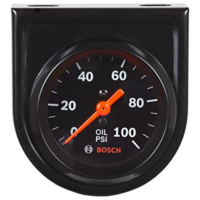 "Bosch SP0F000052 Style Line 2"" Mechanical Oil Pressure Gauge (Black Dial Face, Black Bezel): Automotive"