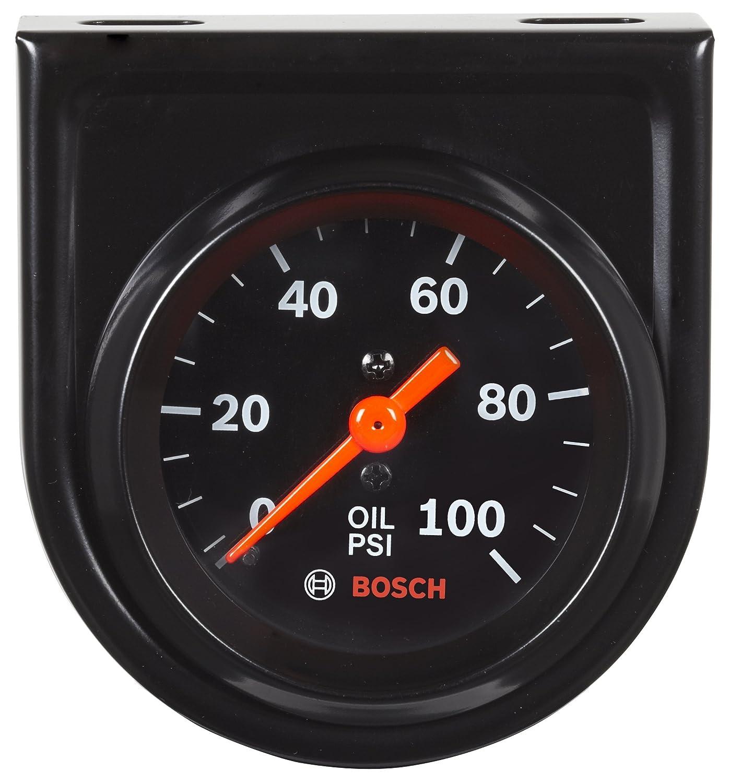 Bosch SP0F000052 Style Line 2' Mechanical Oil Pressure Gauge (Black Dial Face, Black Bezel)