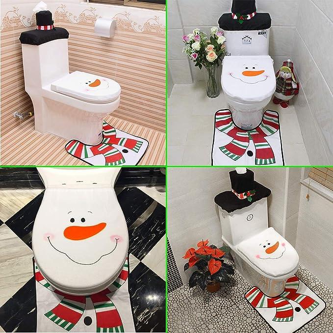 Neusky 3-TLG Schneemann WC-Weihnachtsdekorations-Set Badvorleger Deckelbezug WC Bezug Weihnachten Toilettensitzbezug
