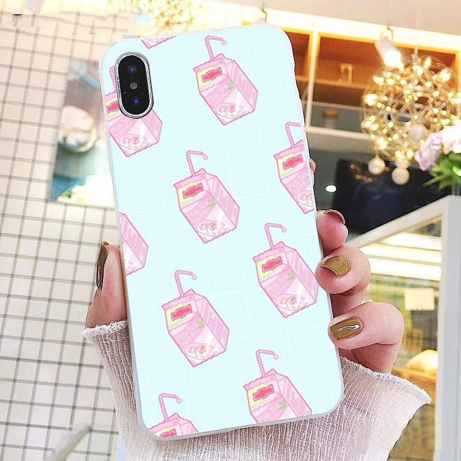 Kawaii Japanese Strawberry Milk Box Phone case for iPhone 11 Pro 11Pro Max 5 5Sx 6 7 7plus 8 8Plus X XS MAX XR-in Half,for iphone6 iphone6S,A8