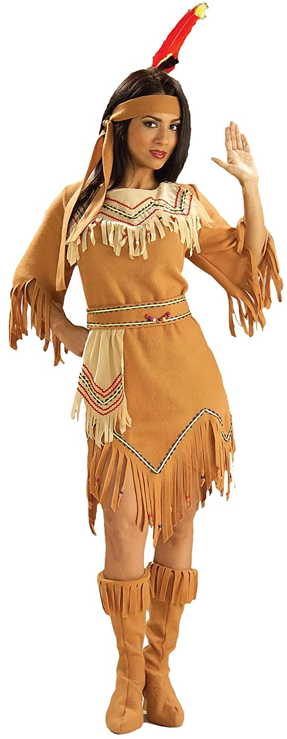 amazoncom forum novelties womens adult native american maiden costume multi colored one size clothing - Halloween Native American