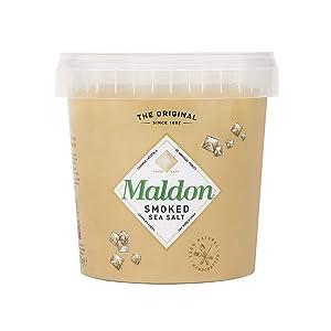 Maldon Salt, Smoked Sea Salt Flakes, 1.1 oz (500 g), Bulk Tub, Kosher, Natural, Gently Smoked Over Oak, Handcrafted, Gourmet, Pyramid Crystals