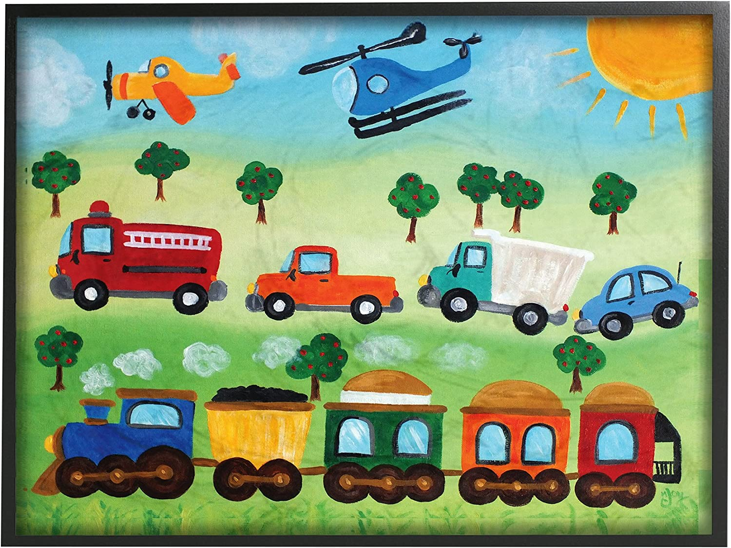 Stupell Industries The Kids Room by Stupell Planes Design by Artist nJoyArt and Automobiles Canvas Wall Art 24 x 30 Trains