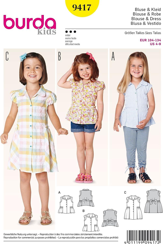 Burda Niños Blusas y fácil e Instrucciones para Hacer Vestidos ...