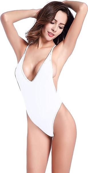 SHEKINI Damen Einteiliger Badeanzug R/üschen Tiefer V Ausschnitt Monokini Cutout Bauchweg Bademode Crossover Zur/ück Strandmode Gro/ße Gr/ö/ße Gepolstert Badebekleidung