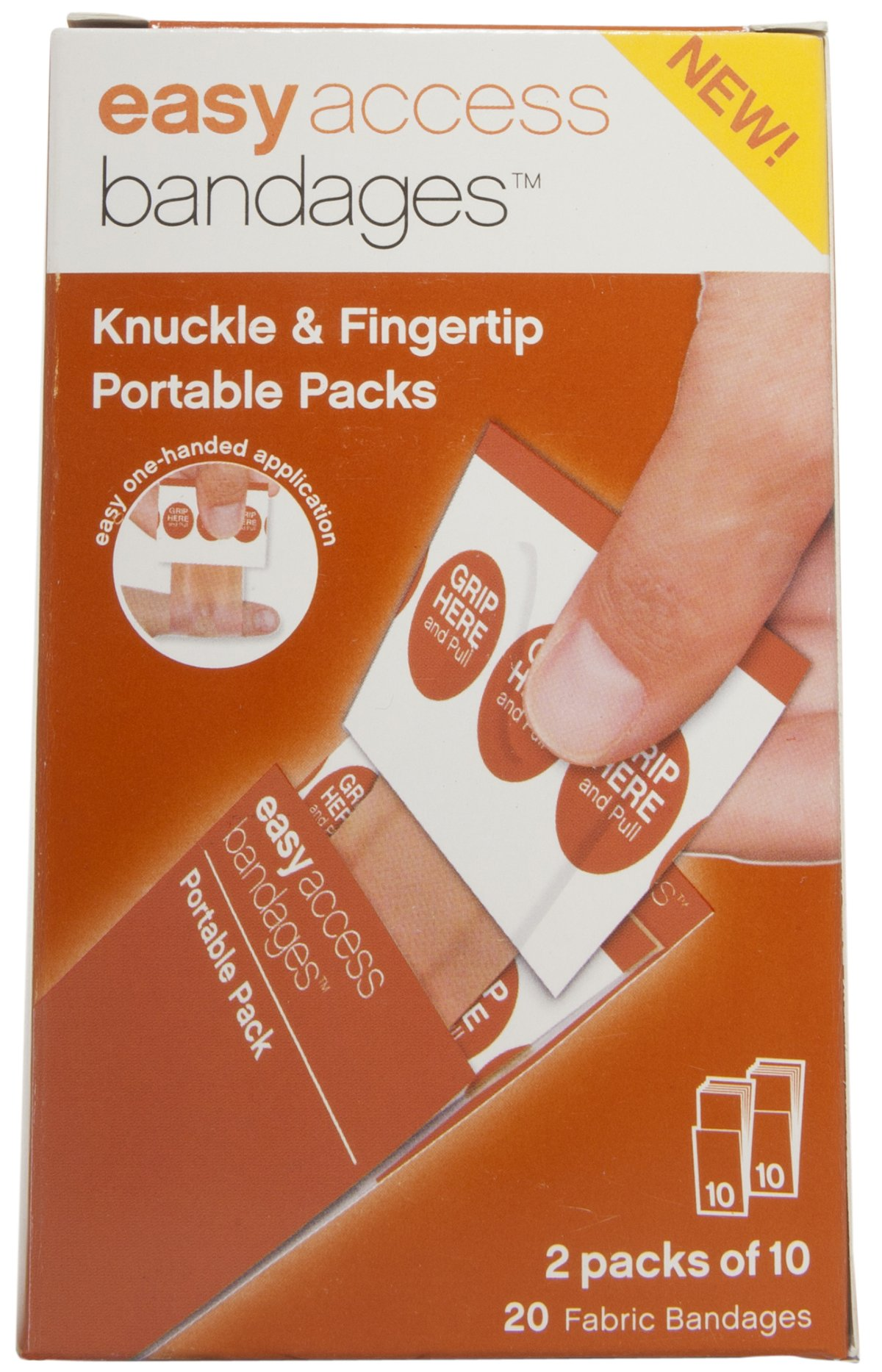 Easy Care Easy Access Bandages, Knuckle and Fingertip Fabric, 20 Count