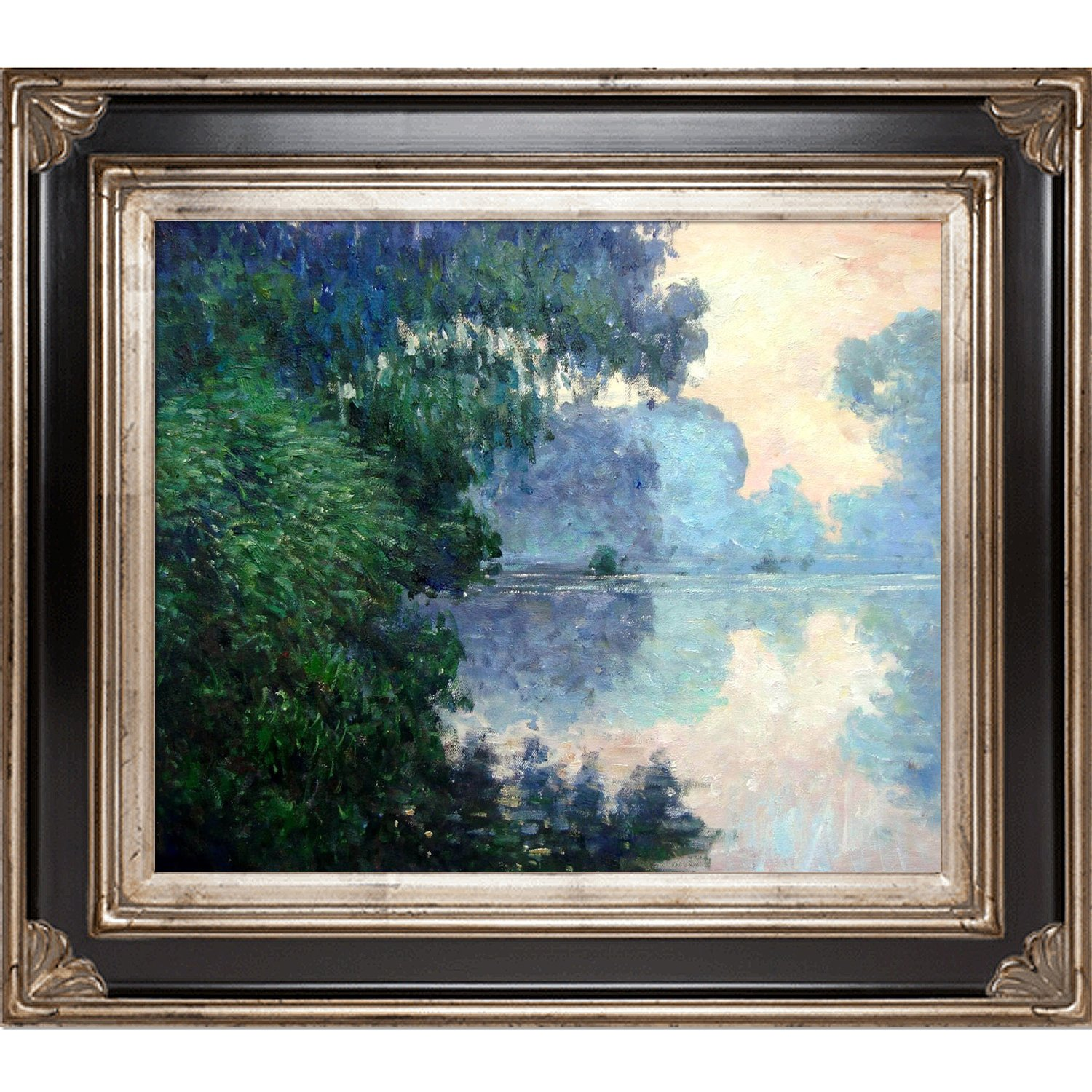 overstockArt Morning on The Seine Near Giverny by Monet with Corinthian Silver Frame Black and Silver Finish