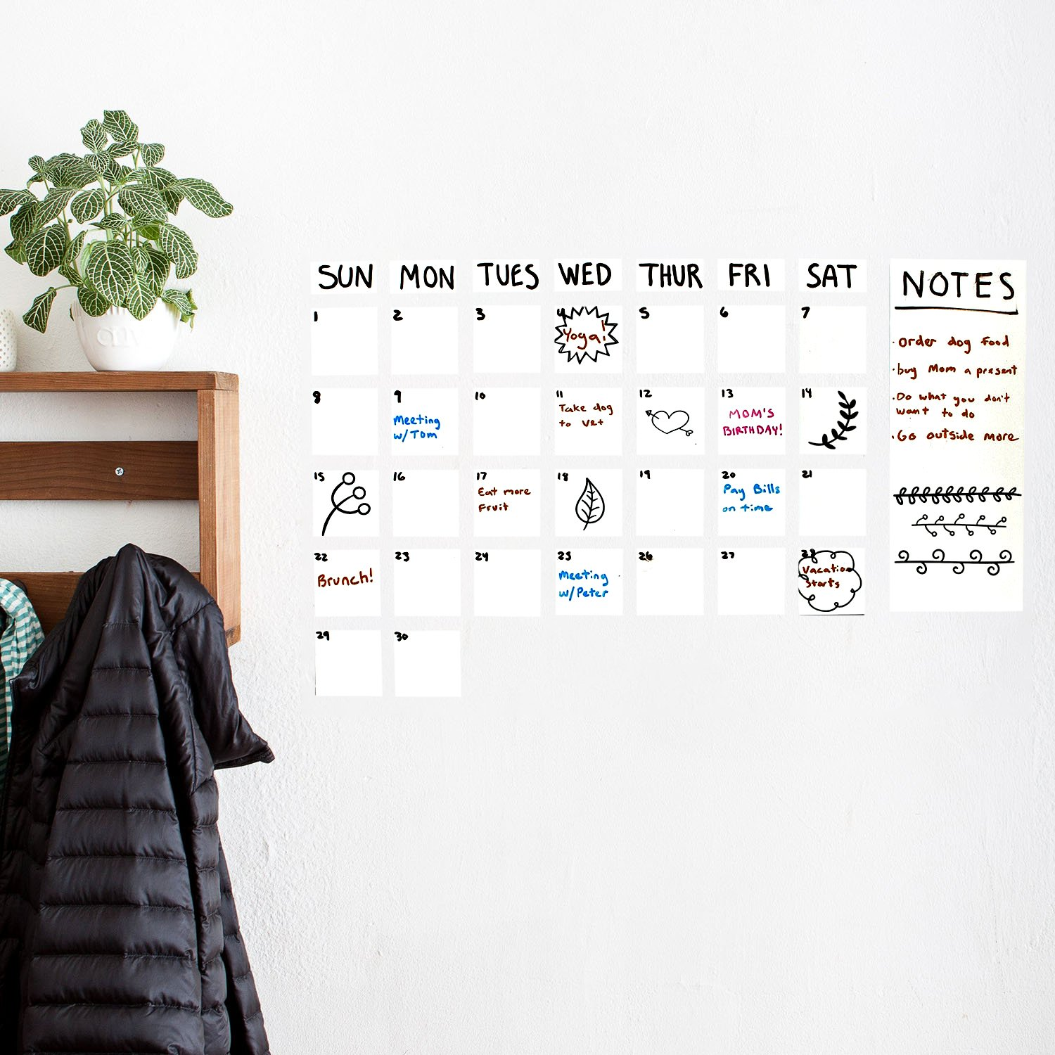 Dry Erase Wall Decal, UnityStar Whiteboard Sticker Extra Large Contact Paper with 3 Water-Based Pens for Home Office School Restaurant Menu, 17.7'' X 78.7'', White by UnityStar (Image #4)