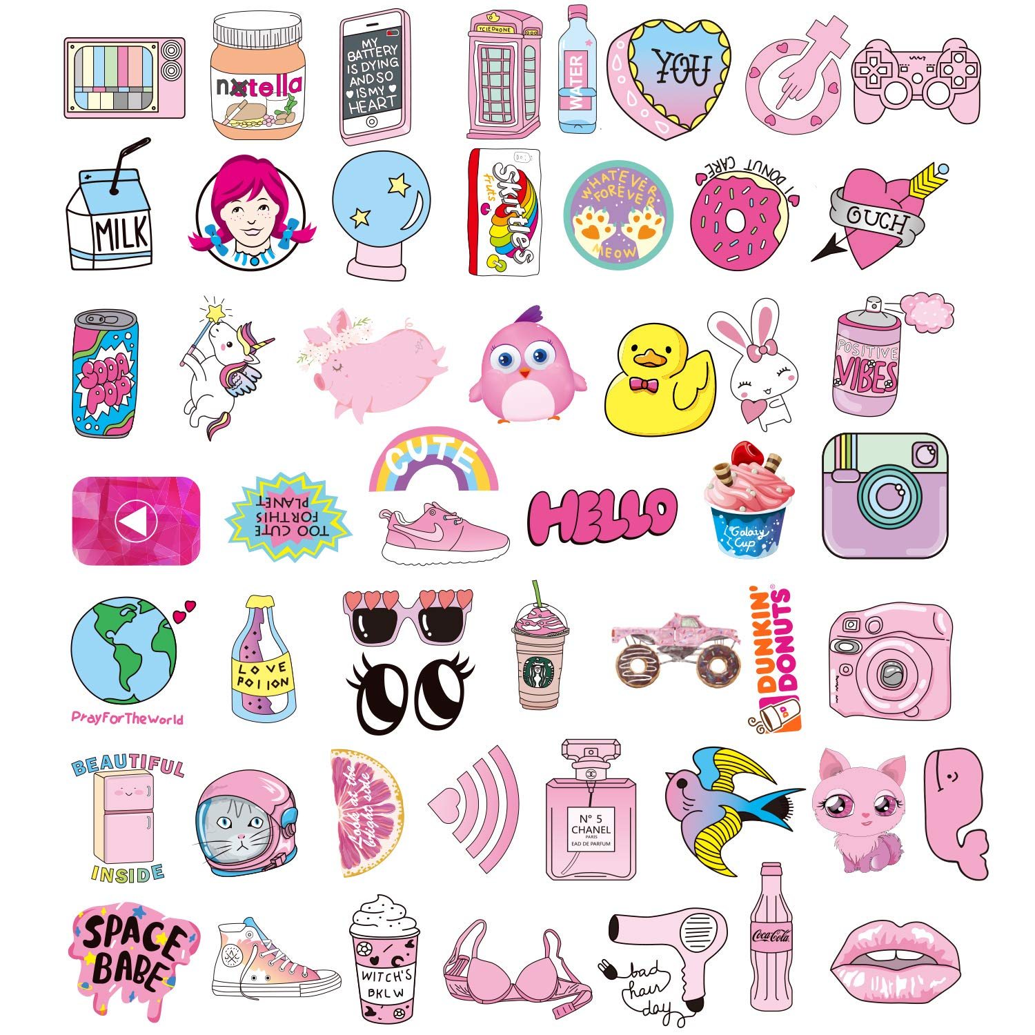 Amazon Com Stickers For Water Bottles Big 46 Pack Cute
