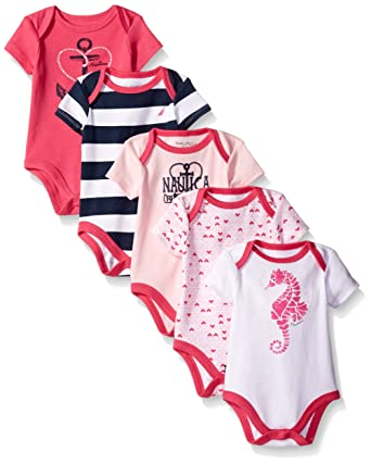 Nautica Baby Girls' 5 Pack Bodysuits, Fuchsia, 3-6 Months