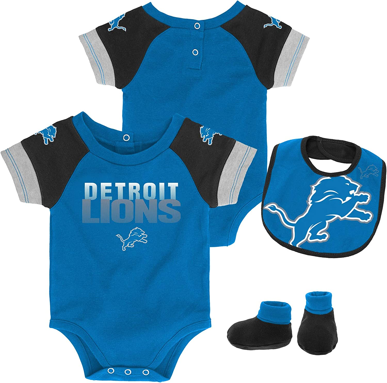OuterStuff NFL Newborn Infants 50 Yard Dash Creeper Bib Bootie Bodysuit Set