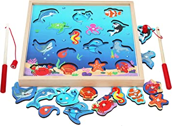 TOWO Juegos de Pesca para niños de 3 años- Juego de Pesca con piezas magnético - pez