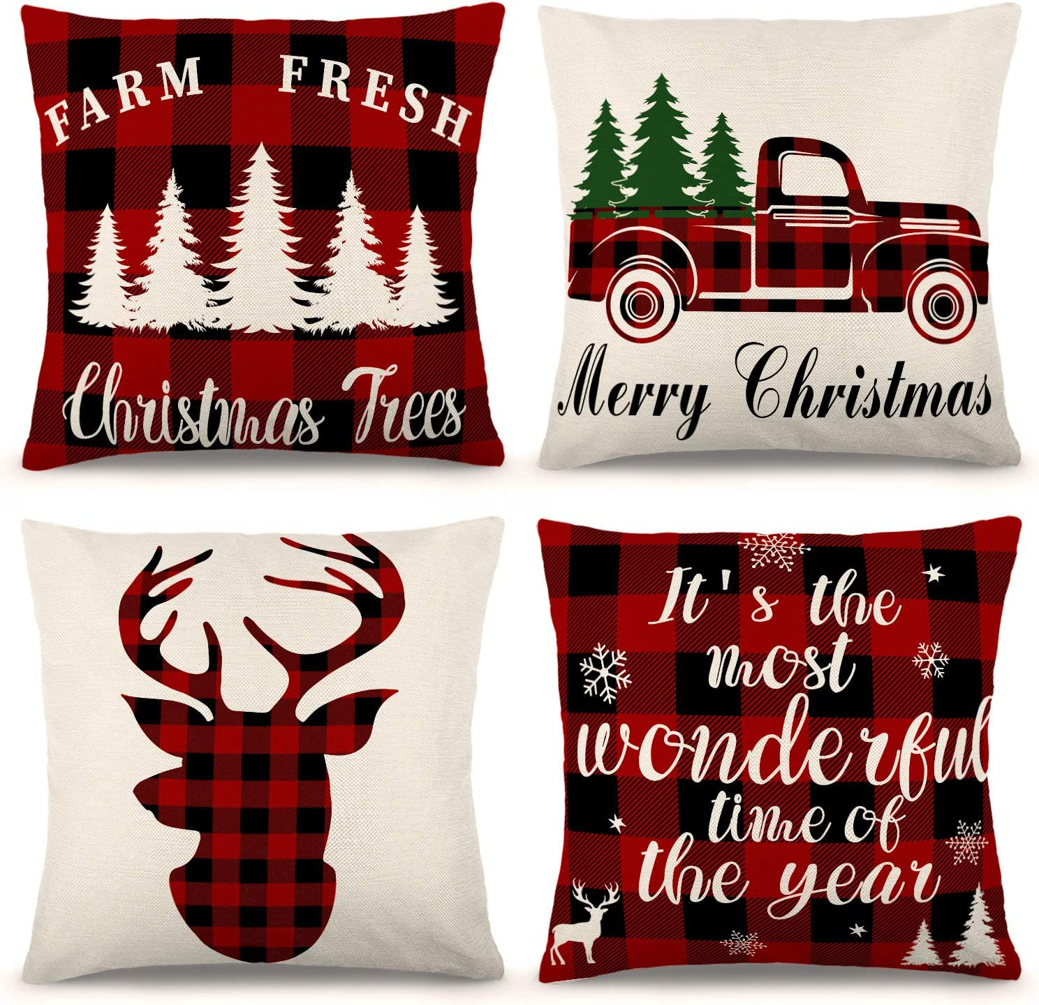 ZJHAI Christmas Pillow Covers 18×18 Inch Set of 4 Farmhouse Black and Red Buffalo Plaid Pillow Covers Holiday Rustic Linen Pillow Case for Sofa Couch Christmas Decorations Throw Pillow Covers