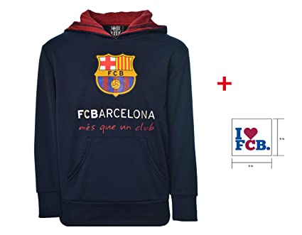 2cac16c145e FC Barcelona Hoodie Hooded Sweatshirt Fleece Navy Youth Boys Official  Licensed and Sticker (Navy
