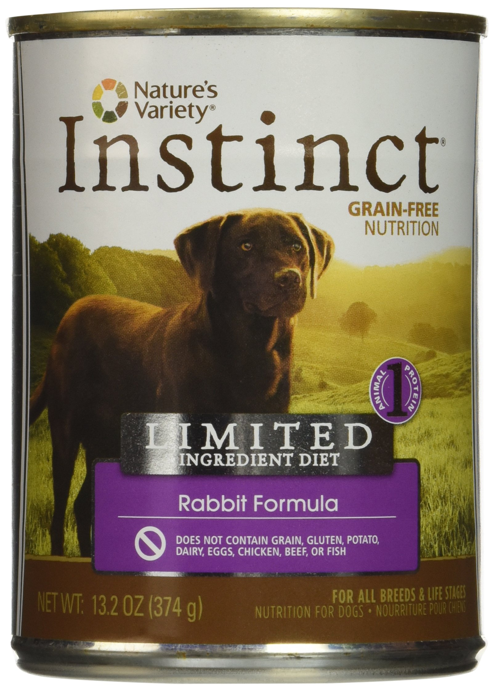 Nature'S Variety Instinct Limited Ingredient Diet Grain Free Rabbit Formula Natural Wet Canned Dog Food By, 13.2 Oz. Cans (Case Of 12) by Nature's Variety