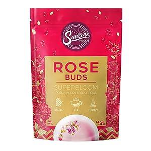 Suncore Foods - Premium Dried Rose Buds Superbloom, No Caffeine, No Preservatives, 1.5oz