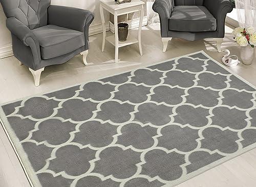 Sweet Home Stores Clifton Collection Light Grey Moroccan Trellis Design 5'3''X7' Area Rug