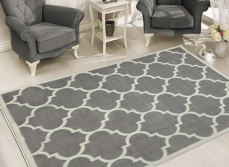 Sweet Home Stores Clifton Collection Light Grey Moroccan Trellis Design 5 3 X7 Area Rug Furniture Decor