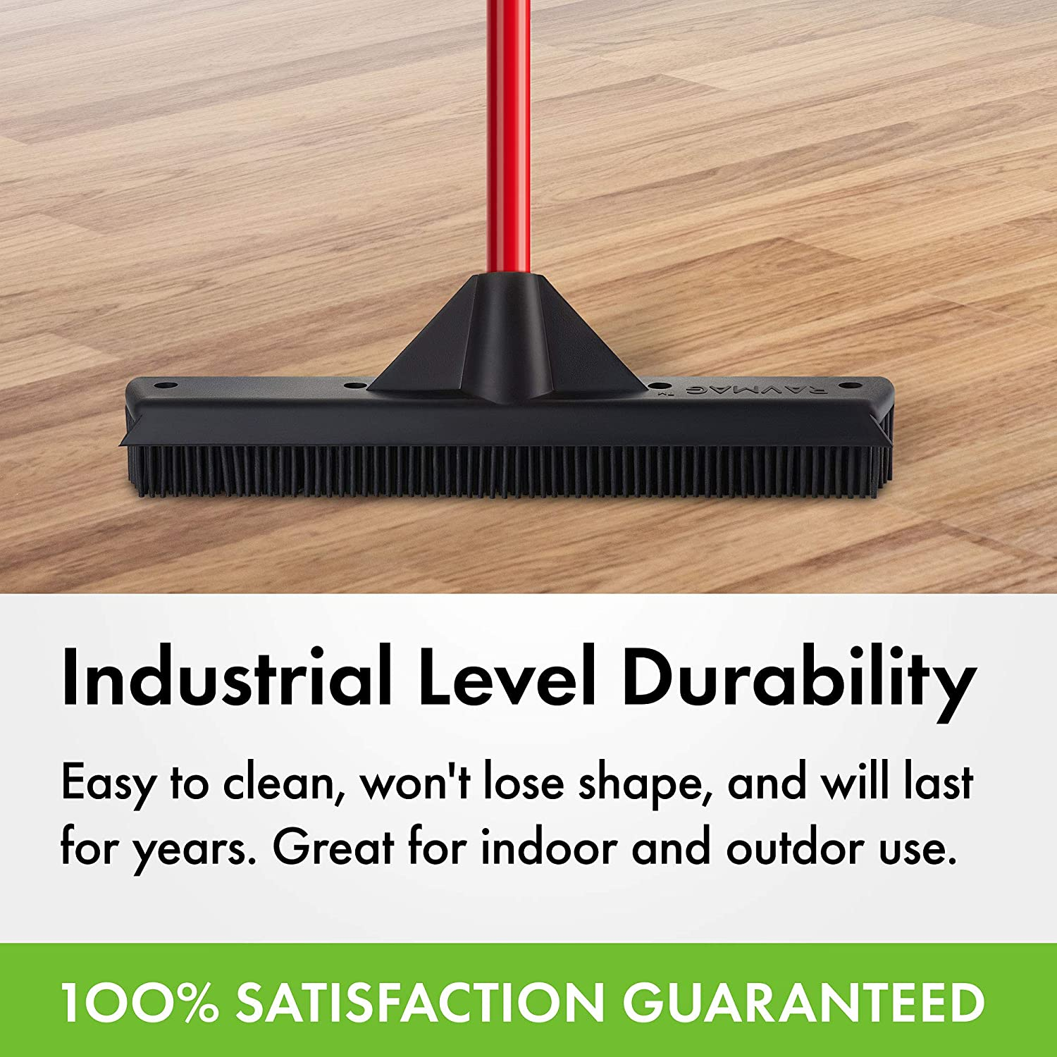 100/% Natural Rubber Bristles Design Decks /& windows For Indoor /& Outdoor Use For Pet /& Human Hair Hardwood Floors Rubber Broom /& Squeegee 33CM Cleans Carpets Water Resistant /& Washable