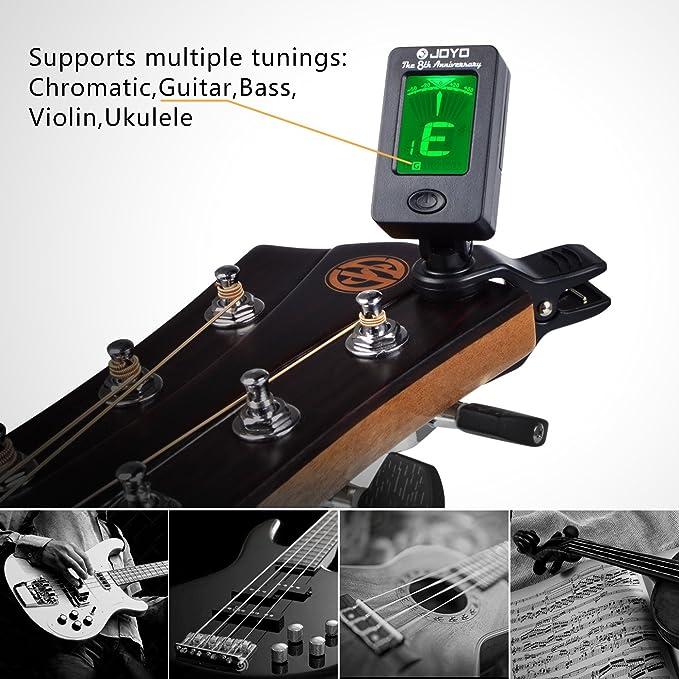 Afinador de Guitarra con 360°Gran Pantalla Colorida Digital Electrónica Batería Incluida(Negro): Amazon.es: Electrónica