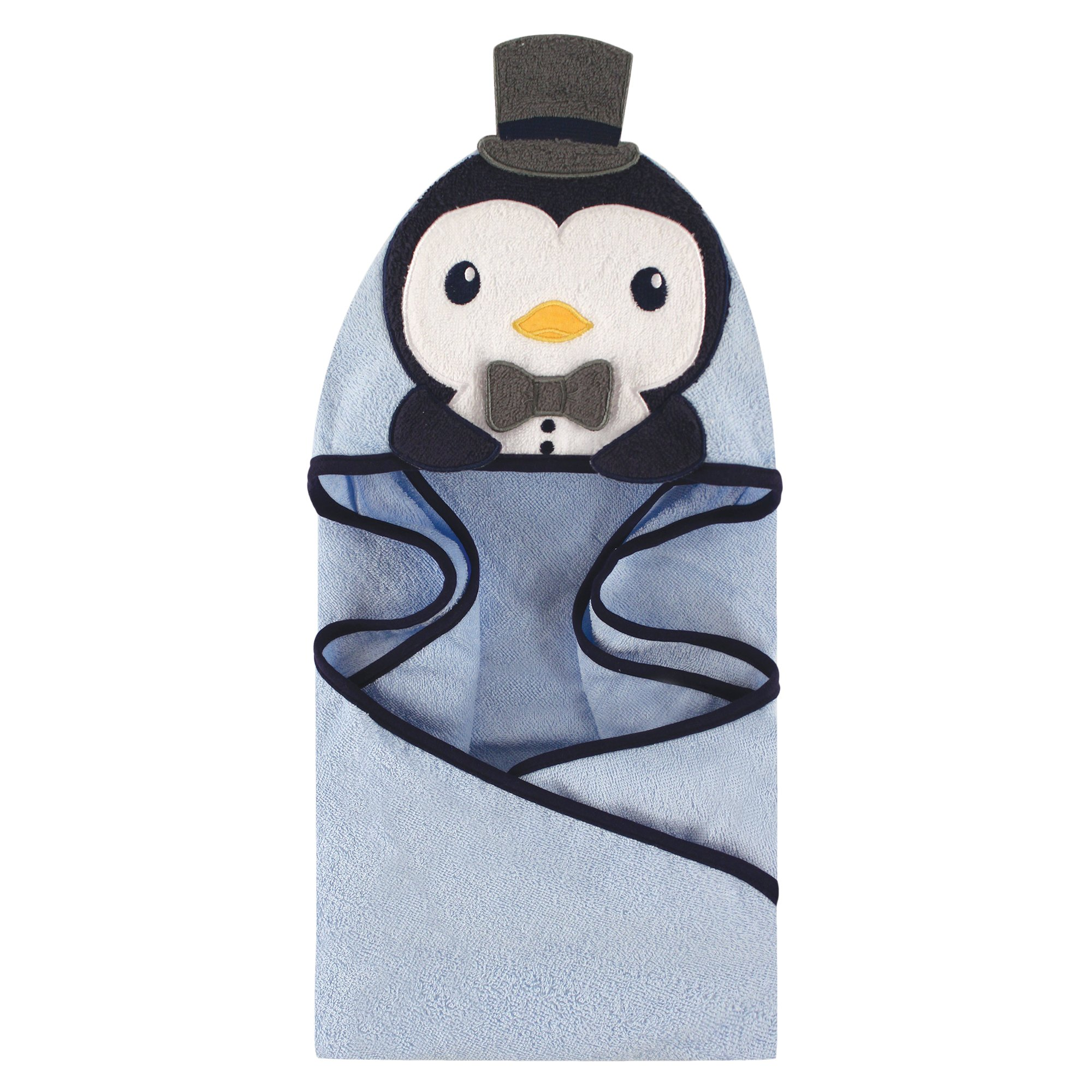 Hudson Baby Animal Face Hooded Towel, Handsome Penguin