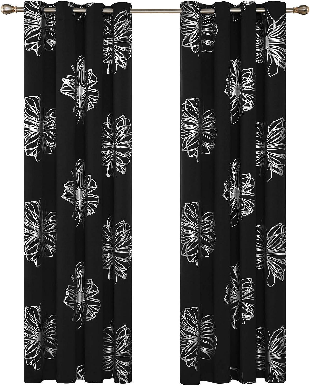 Deconovo Lot de 2 Oeillets Rideaux Occultants Isolants Thermique Noir Imprim/é des Feuilles Argent 140x260cm Rideaux Salon Design Moderne