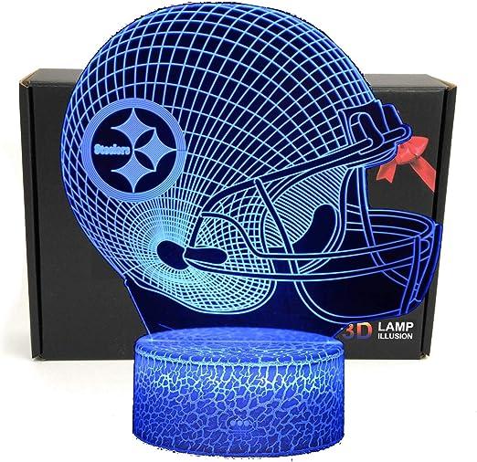 Pittsburgh Steelers Helmet 3D LED Night Light Touch Table Desk Lamp BrithdayGift
