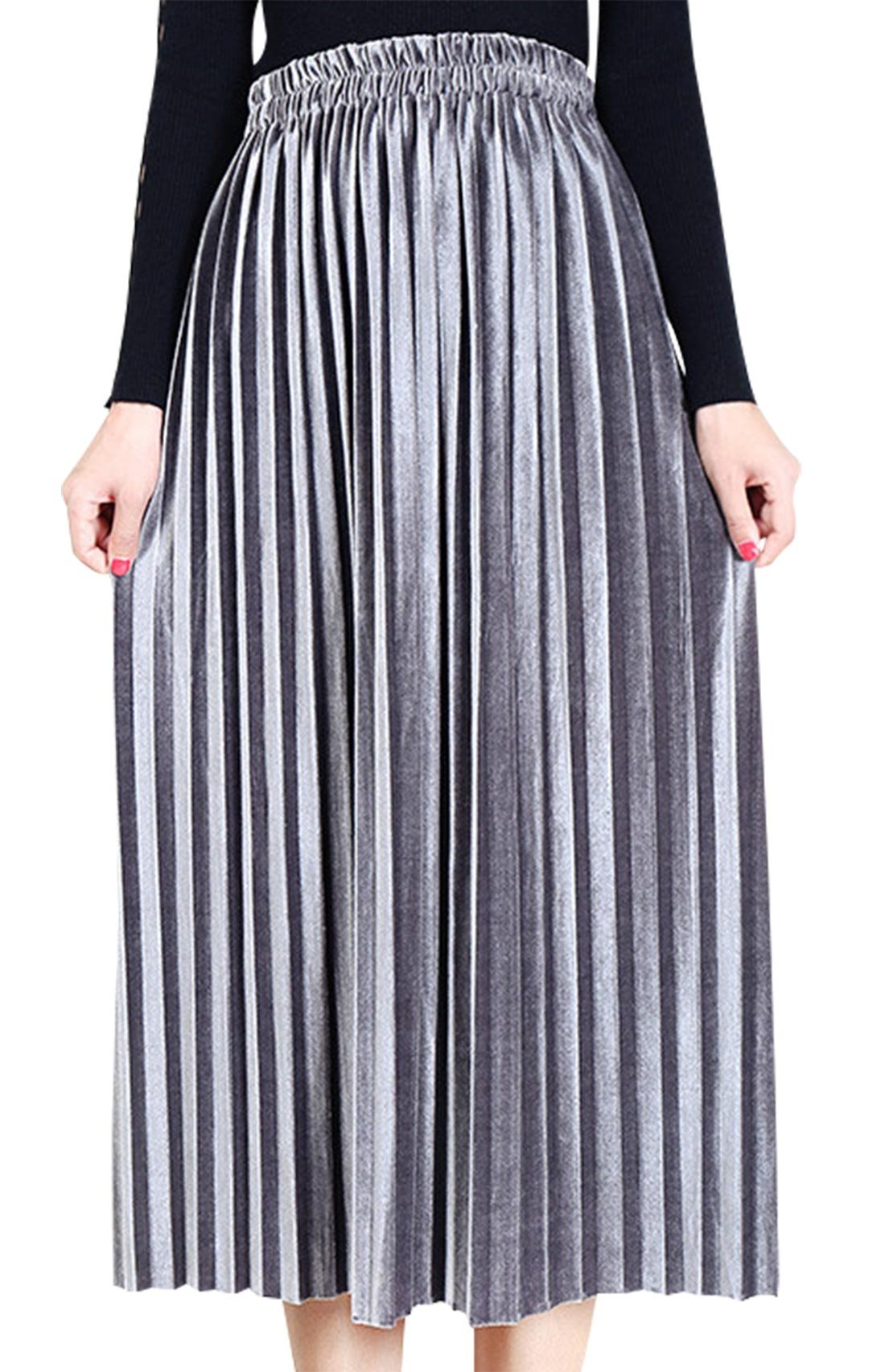 Aivtalk Women Metallic Skirt Peasant Midi Long Elastic Waist Glittery Casual Skirts Size M Gray