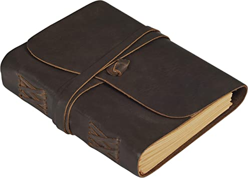 5x7 Hotcinfin Leather Journal Writing Notebook Kraft Lined Paper 288 Pages Rustic Handmade Leather Bound Journals for Men and Women Leather Book Travel Diary Notebook Brown