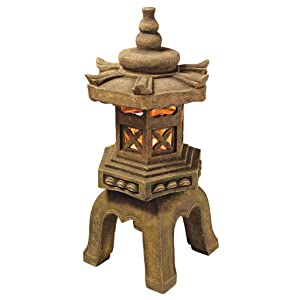 Design Toscano Sacred Pagoda Lantern Asian Decor Garden Statue, 27 Inch, Polyresin with LED Light, Aged Stone