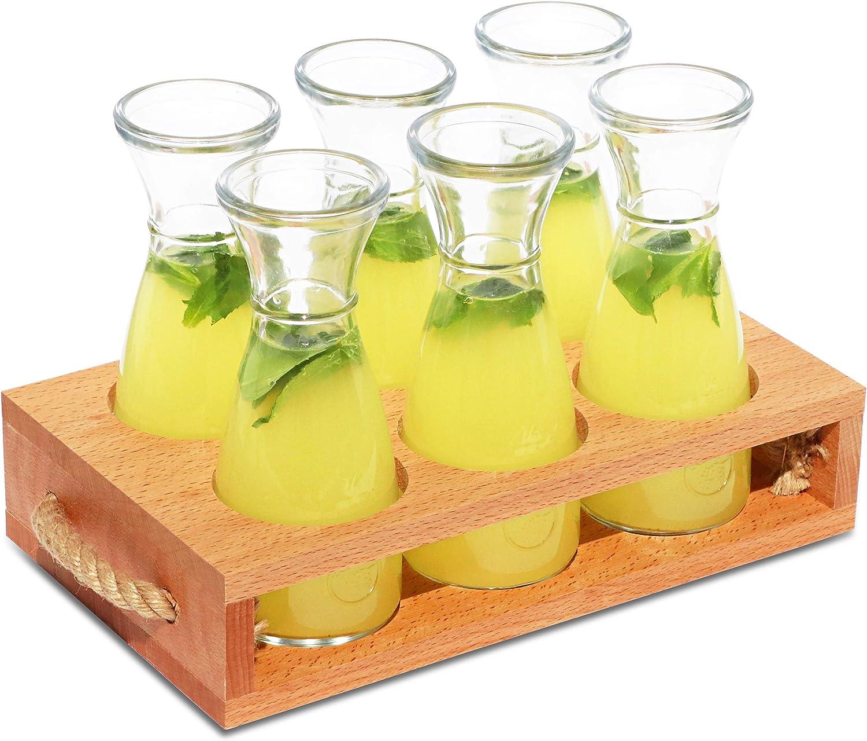 Bandeja para servir bebidas con 6 garrafas de vidrio, Porta botellas de madera vintage, Ideal para cenas, fiestas en el jardín, catas de vino, Idea de regalo única