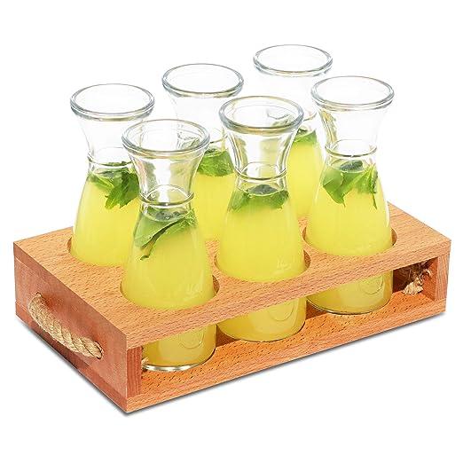 Bandeja para servir bebidas con 6 garrafas de vidrio, Porta ...