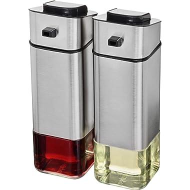 CHEFVANTAGE Olive Oil and Vinegar Cruet Dispenser Set with Elegant Glass Bottle and Drip Free Design - Stainless Steel