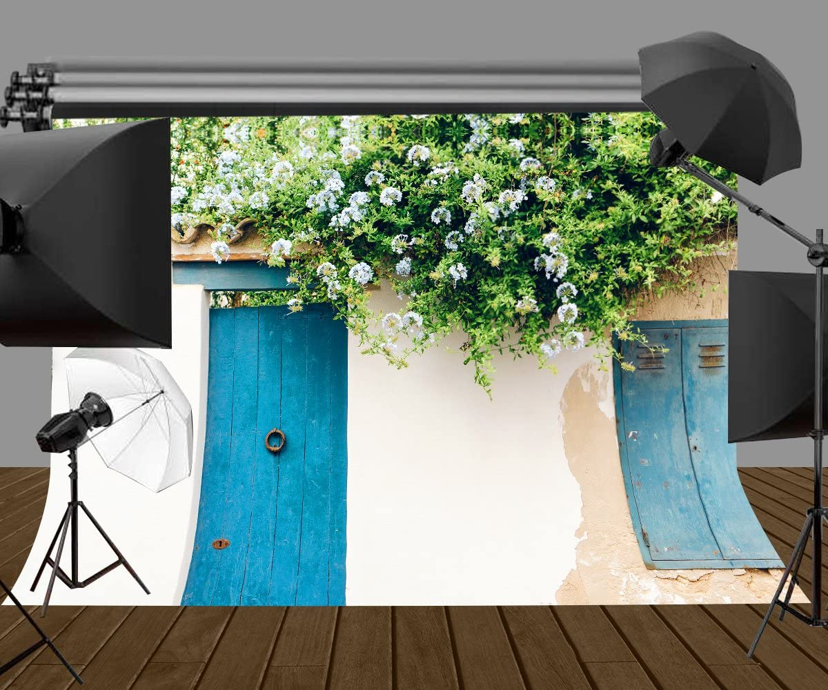 Lyly County 7/×5ft The roof of Wooden House is Covered with Beautiful Flowers and Plant Backdrop Cloth Boot Background Studio Props Photography LYDAN021