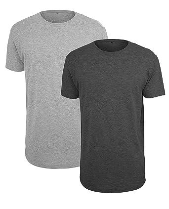 2 x Herren Long Tee extra lang grau schwarz T-shirt Shirt Top Kurzarm  Rundhals 89355faa0c