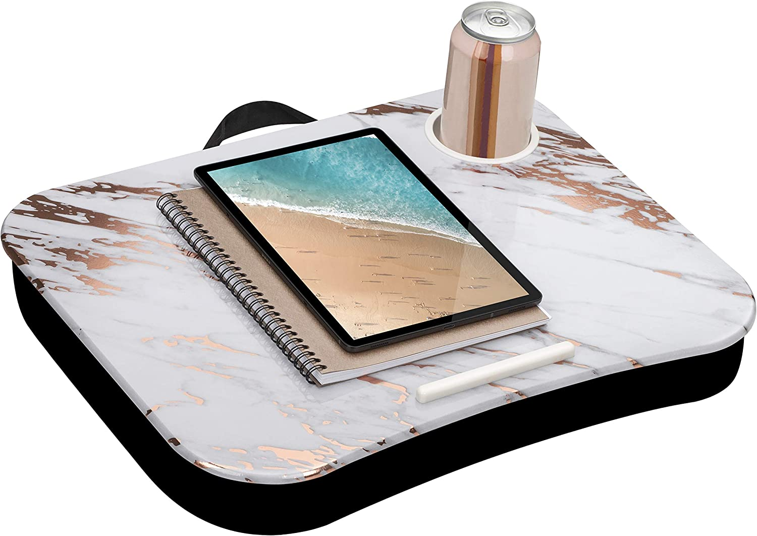 LapGear Cup Holder Lap Desk with Device Ledge - Rose Gold Marble - Fits Up to 15.6 Inch Laptops - Style No. 46310