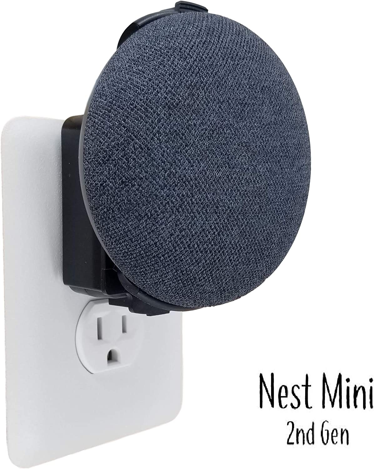 The Nest Mini Backpack 2nd Gen 2019: The Simplest and Cleanest Outlet Wall Mount Hanger Stand for New Google Nest Mini - No Cord Wrapping Required - Designed in USA (Black)