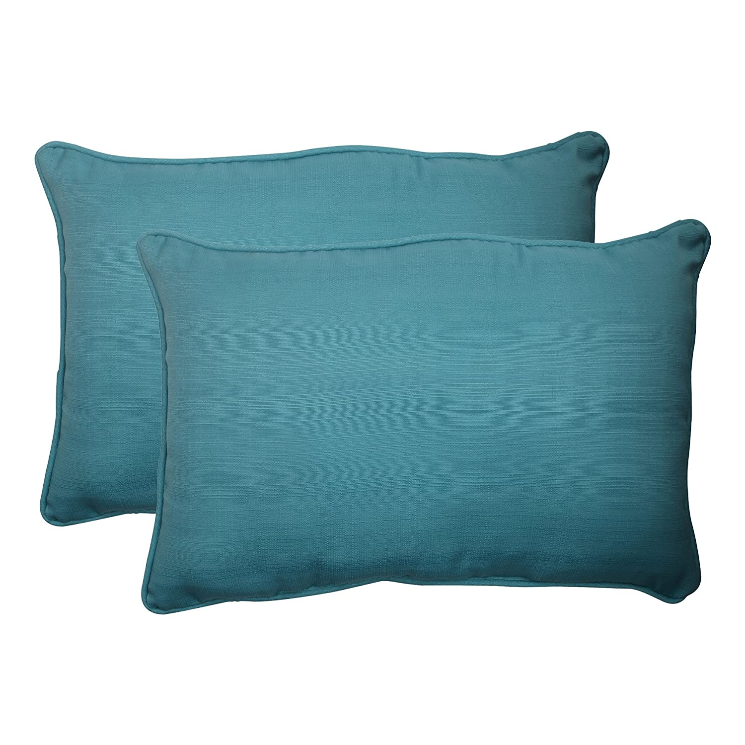 Turquoise Set of 2 507019 Pillow Perfect Outdoor Forsyth Corded Oversized Rectangular Throw Pillow