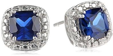 efb84c51bae7 Amazon.com  Sterling Silver Created Blue Sapphire Cushion-Cut Stud ...