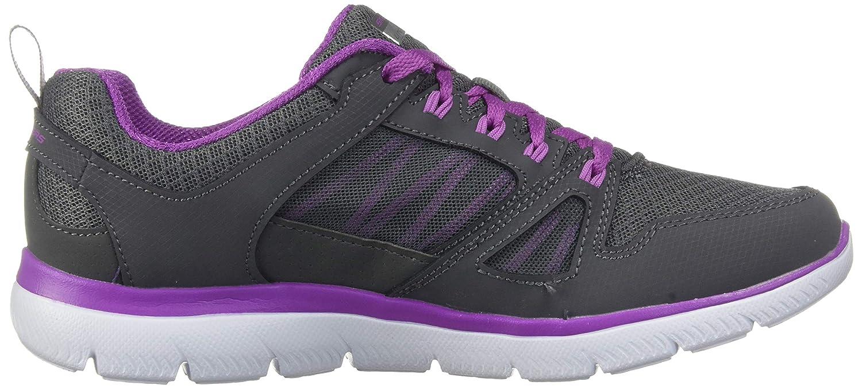 Skechers Damen Summits - New World Sneaker Kohlschwarz / Violett
