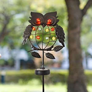 Joiedomi Outdoor Solar Stake Lights Garden Yard 40'' 10LED Metal Owl Decorative Lights Waterproof for Walkway Pathway Lawn Patio Courtyard (Bronze)